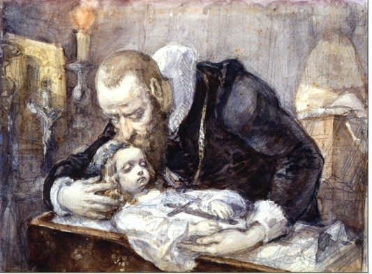 Father and child lament